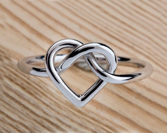 Heart Knot Ring, Love Knot Ring, Infinity Heart Ring, Sterling Silver, 9k heart knot, solid gold