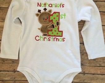 Reindeer 1st Christmas Applique Onesie or Shirt