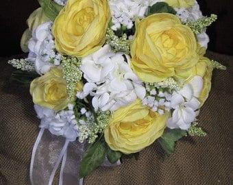 Bridal/Bridesmaid Silk Lasting Bouquet Yellow Roses White Hydrangeas