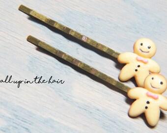 Gingerbread Man Bobby Pins - Holiday Bobby Pins - Holiday Hair Pins - Christmas Bobby Pins - Christmas Hair Pins - Cookie Bobby Pins