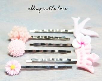 Pink Bobby Pins - Crown Bobby Pins - Bird Bobby Pins - Bobby Pin Set - Stocking Stuffer - Christmas Gift