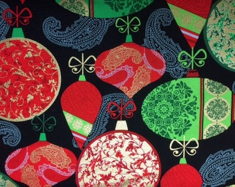 Kanvas DECK THE HALLS (Red Green Ornaments - Black) 100% Cotton Premium Fabric for Quilting - sold by 1/2 yard