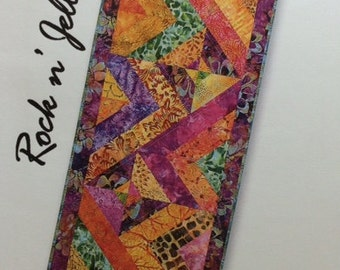 ROCK N' JELLY ROLL Pieced Table Runner Quilt Pattern - Strip Pattern 16 x 40