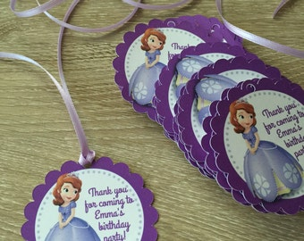 Sofia The First party favor tags with ribbon - Sofia Party Favor Tags, princess Sofia tags,  Disney Princess Sofia the First Birthday tags