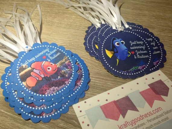 Beach Pail Party Favors Saying Thank You For Coming: Finding Dory Finding Nemo Party Favor Tags By MyKraftygoodness