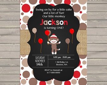 Sock Monkey Invitation Boy, Sock Monkey Birthday Invitation, Printable PDF JPEG