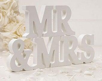 White Wooden Mr & Mrs Wedding Venue Decoration Keepsake