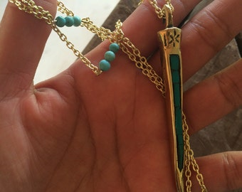 Long turquoise spike necklace, big spike with turquoise