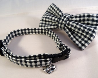 Cat Collar optional bow // black & white check
