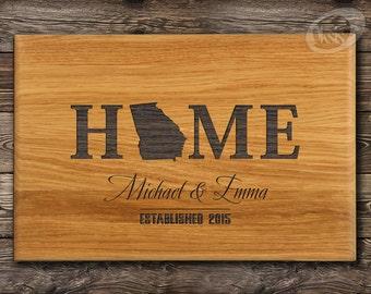 Any State Cutting Board, Housewarming Gift, Georgia Custom Cutting Board, Engraved Family Name with Est Date Cutting Board, Anniversary gift