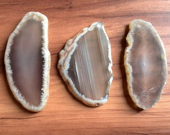 3 Piece Grey Agate Slices Top Drilled For Pendant - Random Selection