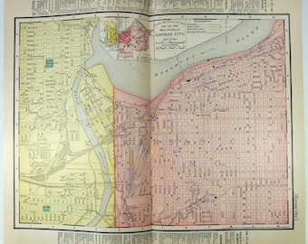 Original 1895 Street & Railroad Map of Kansas City, MO by Rand McNally