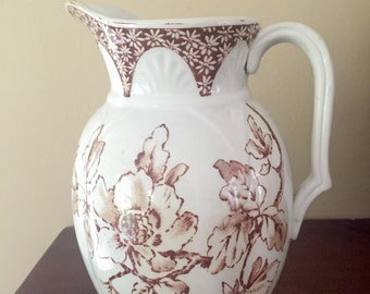 Beautiful Antique Ironstone Pitcher, Brown Transferware, Made in England, Circa 1910, Rustic Farmhouse Decor.