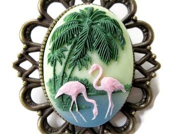 Retro vintage cameo brooch pink flamingo exotica hawaii rockabilly pin up sea sailor french vintage