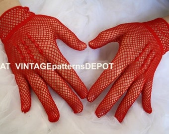 Red LACE Bridal Wedding Gloves, red net lace / fish net / crochet, bead embellishment, one sz, Wedding, Prom, Formals, Vintage Wedding Ideas
