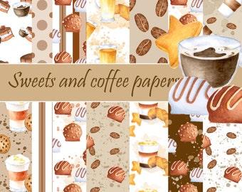 Coffee digital paper, Cake digital pattern, Paper pack, Printable paper, Seamless patterns, Sweets background, Chocolate pattern, Scrapbook