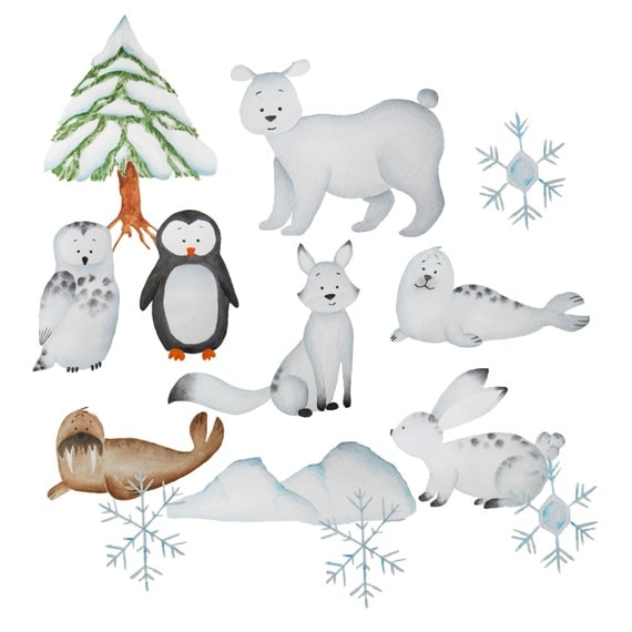 Bien connu Aquarelle animaux polaires clipart ours polaire clipart XK83
