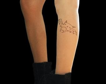 Bat tattoo tights, all size