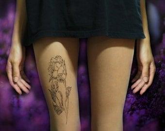 Rose tattoo tights, minimalist art, hand painted