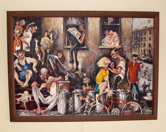 Nyc Street Corner Oil Painting Social Commentary Russian American Muller