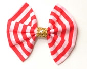 Red and White Stripe Hair Bow/Glitter hair Bow/Candy Stripe Hair Bow
