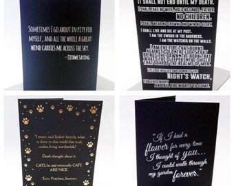 Beautiful Literary Quote Greetings Cards Terry Pratchett Love Cats Flower