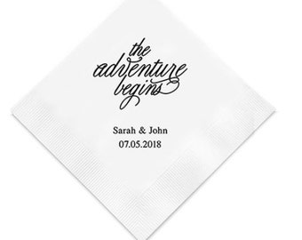 The Adventure Begins Custom Wedding Napkins Personalized (Pack of 100)