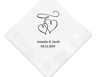 Double Hearts Wedding Napkins (Pack of 100) Personalized Napkins