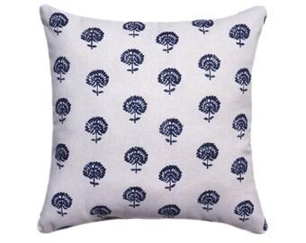 Designer Pillow Cover, Lumabar, 18 x 18, 20 x 20, 22 x22, 24 x 24, Hand Flora Indigo Double Sided Pillow, Robert Allen Pillow Cover