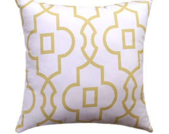 Yellow Trellis Pillow Cover, Saffron Yellow and White Pillow, Bordeaux Saffron Yellow Pillow Cover, Geometric Pillows, Pale Yellow Pillow