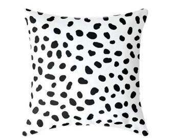 Black and White Dalmatian ZIPPER Pillow Cover, 18x18 20x20 24x24 26x26 Throw Pillow, White Pillow, Animal Print Pillow, 15 Sizes available