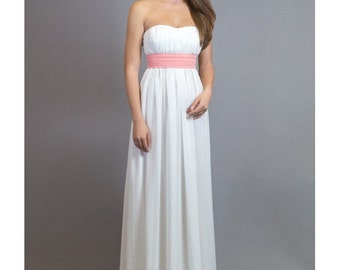 Lovely White Chiffon Dress / Wedding Long Romantic Dress, Maxi Prom Dress, Evening Strapless Dress, Maxi Bustier Dress/