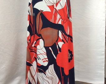 Large red white and blue floral maxi skirt