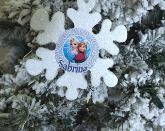 Personalized Disney Frozen Elsa & Anna Snowflake Ornament Name or year 2017