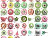 Ornamental Ceramic Door Knobs Kitchen Cabinet Cupboard or Drawer Pulls Various Pink  Green Designs