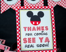 Thanks for Coming See Ya Real Soon Sign - Instant Download Mickey Mouse Party Sign by Printable Studio