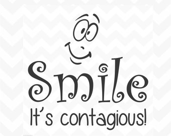 Smile it's contagious vinyl wall art sticker words happy positive inspire removable would suit home classroom