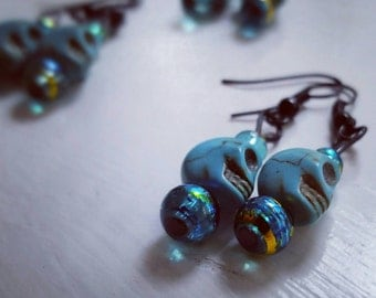 Turquoise Howlite earrings with glass beads on black metal hooks ~ Skull Jewellery