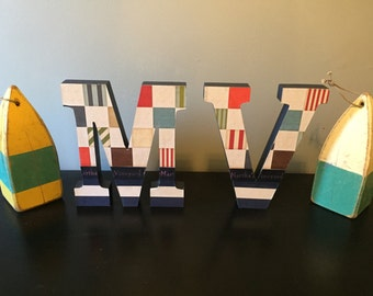 Martha's Vineyard|Nautical Wooden Letters| Beach Decor|Stand Alone- great for tabletop or shelf