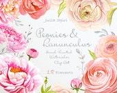 Watercolor Flowers Clipart, Peonies, Ranunculus, Wedding Invitation, Hand Painted, Greeting card, Peony Diy Romantic. Peonies and Ranunculus