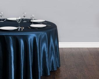 120 Inch Round Navy Blue Satin Tablecloth   Wedding Tablecloth