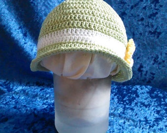 Mint green  original design crocheted cloche hat for infant