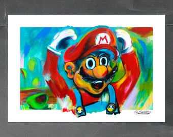 ANOTHER CASTLE,Mario Art, 13x19, 8x10, 5x7,Retro,Nintendo,Classic, Kids Room Art,Fathers Day, Super Mario World 3d. Wii, Brenner