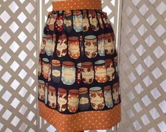 Half Apron, Canning Jars Fabric, Blue and Orange Fabric, Canning Jar Decor, Kitchen Accessory, Housewarming Gift, Hostess Gift