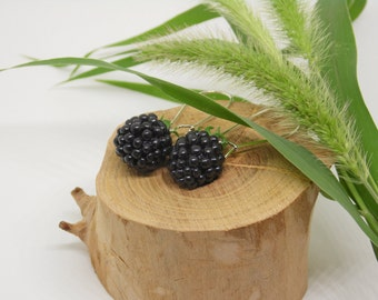 Blackberry drop earrings berry jewelry berry earrings polymer clay jewelry gift for her Blackberry jewelry fake food earrings mini food