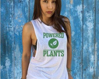 Powered by Plants T-Shirt, Muscle, Crop, Alternative Apparel, Eco Racerback, Men's T-shirt, V015