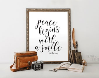 Printable art Mother Teresa quote printable Peace begins with a smile quote Inspirational quote printable Simple black and white quote print