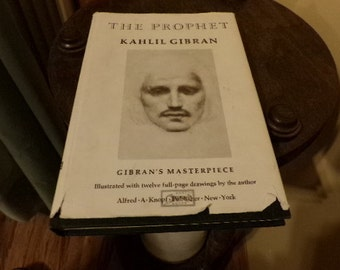 The Prophet, by Kahlil Gibran 1973, Alfred Knopf Hardcover, Vintage hardcover book, Vintage book with original cover