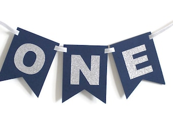 Silver & Navy ONE High Chair Banner Happy Birthday Banner/ Boy Birthday/ Prince Party/ Child Birthday/ Party Decorations/ 1st birthday