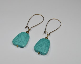 Faceted trapezoid kidney wire earrings